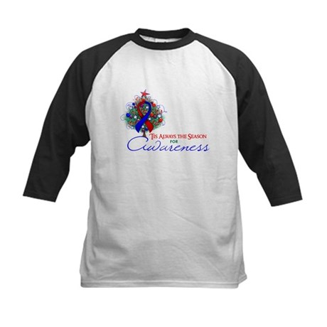 Red and Blue Ribbon Xmas Tree Kids Baseball Jersey