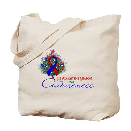 Red and Blue Ribbon Xmas Tree Tote Bag