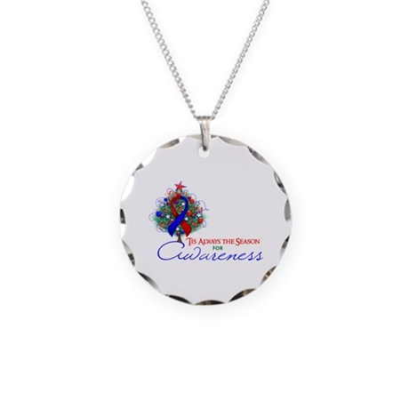 Red and Blue Ribbon Xmas Tree Necklace Circle Char