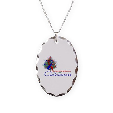 Red and Blue Ribbon Xmas Tree Necklace Oval Charm
