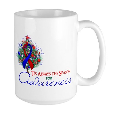 Red and Blue Ribbon Xmas Tree Large Mug