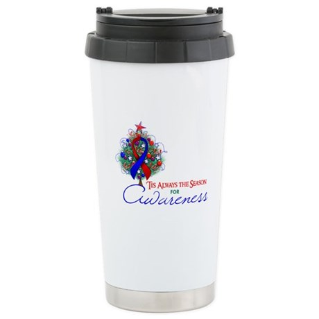 Red and Blue Ribbon Xmas Tree Ceramic Travel Mug