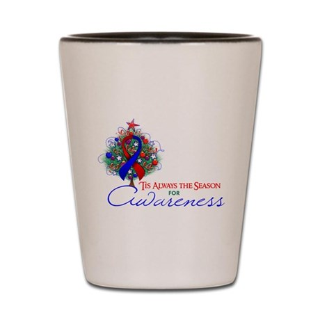 Red and Blue Ribbon Xmas Tree Shot Glass