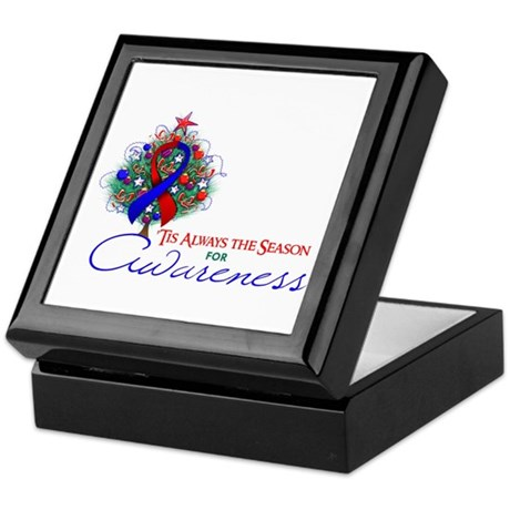 Red and Blue Ribbon Xmas Tree Keepsake Box