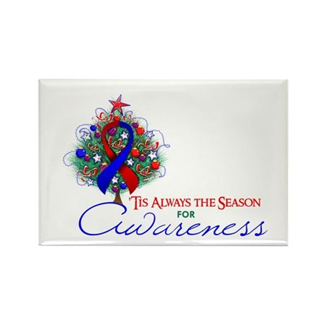 Red and Blue Ribbon Xmas Tree Rectangle Magnet