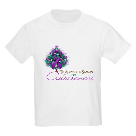 Purple Ribbon Xmas Tree Kids Light T-Shirt
