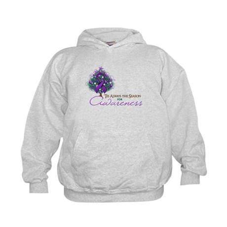 Purple Ribbon Xmas Tree Kids Hoodie