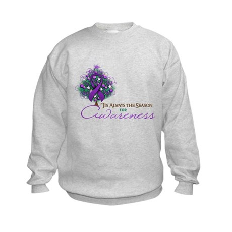 Purple Ribbon Xmas Tree Kids Sweatshirt