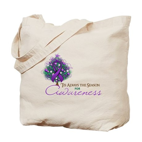 Purple Ribbon Xmas Tree Tote Bag