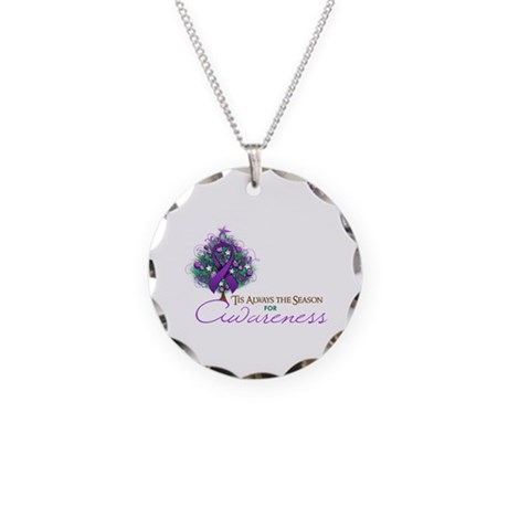 Purple Ribbon Xmas Tree Necklace Circle Charm