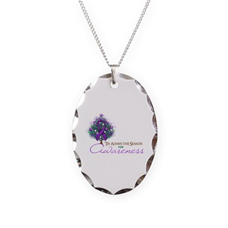 Purple Ribbon Xmas Tree Necklace Oval Charm