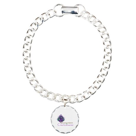 Purple Ribbon Xmas Tree Charm Bracelet, One Charm