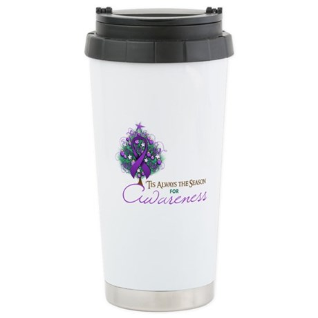 Purple Ribbon Xmas Tree Ceramic Travel Mug