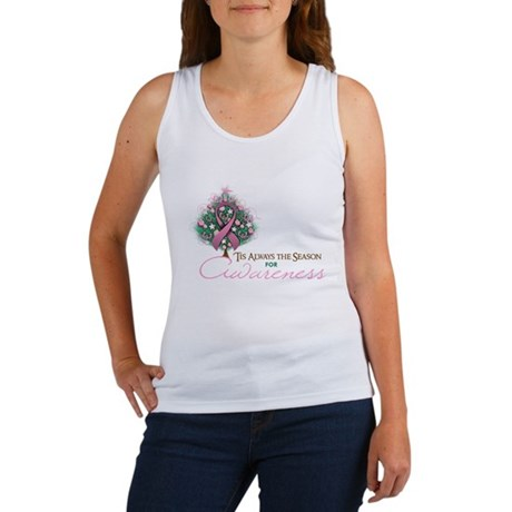 Pink Ribbon Xmas Tree Women's Tank Top