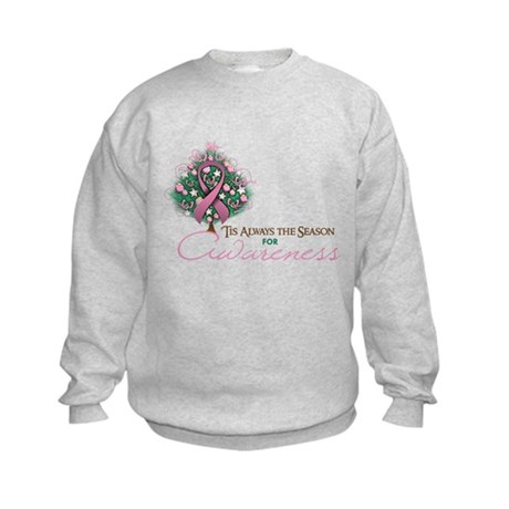 Pink Ribbon Xmas Tree Kids Sweatshirt