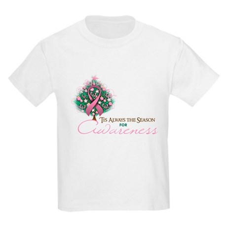 Pink Ribbon Xmas Tree Kids Light T-Shirt