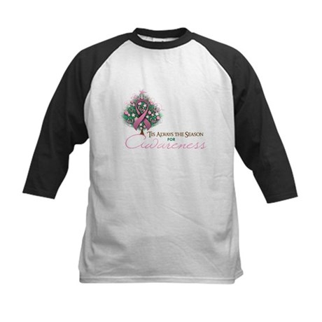 Pink Ribbon Xmas Tree Kids Baseball Jersey