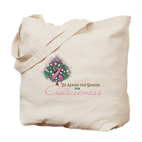Pink Ribbon Xmas Tree Tote Bag