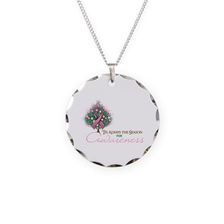 Pink Ribbon Xmas Tree Necklace Circle Charm