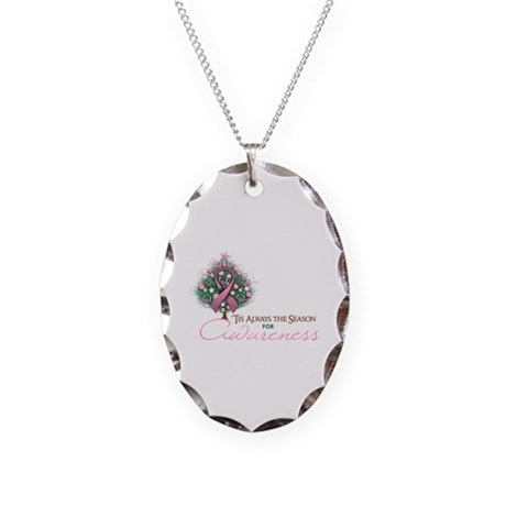 Pink Ribbon Xmas Tree Necklace Oval Charm