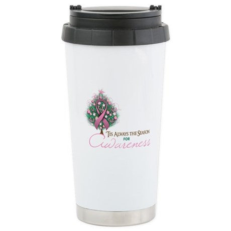 Pink Ribbon Xmas Tree Ceramic Travel Mug