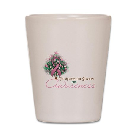 Pink Ribbon Xmas Tree Shot Glass