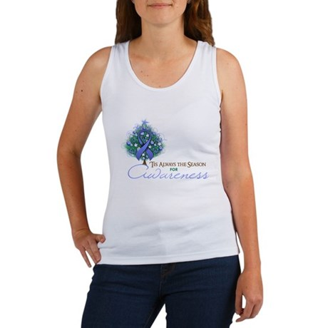 Periwinkle Ribbon Xmas Tree Women's Tank Top