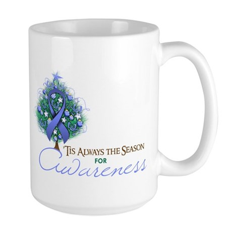 Periwinkle Ribbon Xmas Tree Large Mug