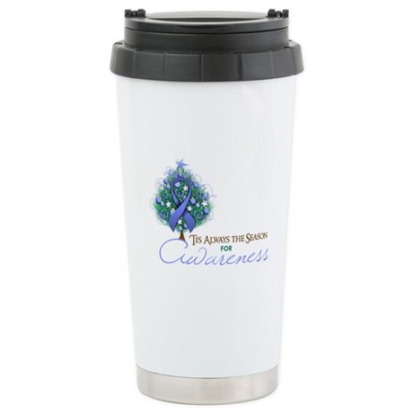 Periwinkle Ribbon Xmas Tree Ceramic Travel Mug