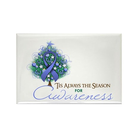 Periwinkle Ribbon Xmas Tree Rectangle Magnet