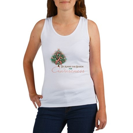 Peach Ribbon Xmas Tree Women's Tank Top