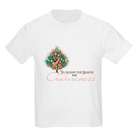Peach Ribbon Xmas Tree Kids Light T-Shirt