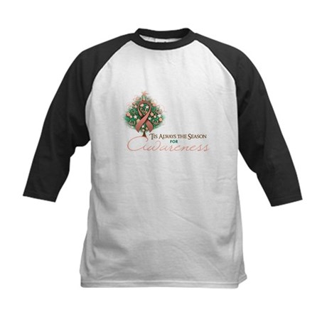 Peach Ribbon Xmas Tree Kids Baseball Jersey