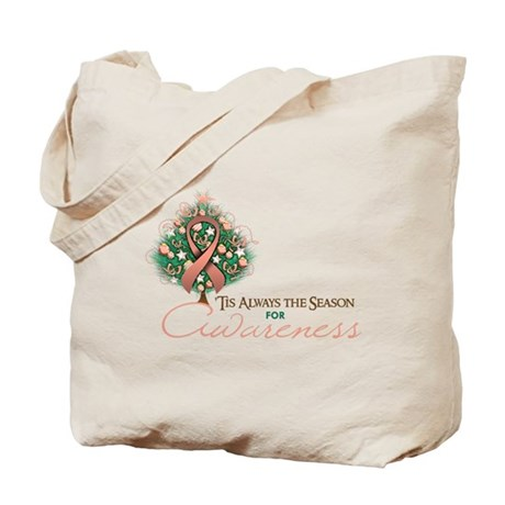 Peach Ribbon Xmas Tree Tote Bag
