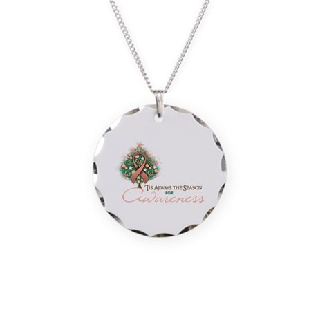 Peach Ribbon Xmas Tree Necklace Circle Charm