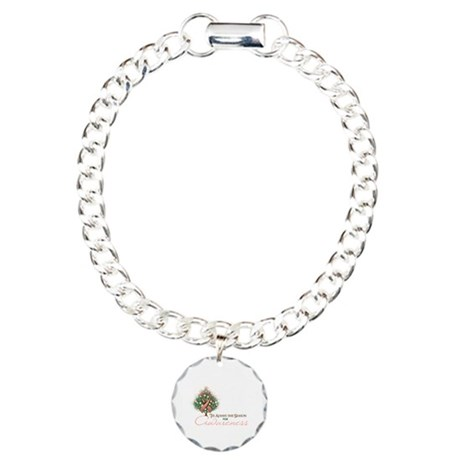 Peach Ribbon Xmas Tree Charm Bracelet, One Charm