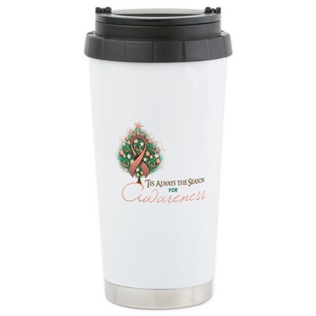 Peach Ribbon Xmas Tree Ceramic Travel Mug