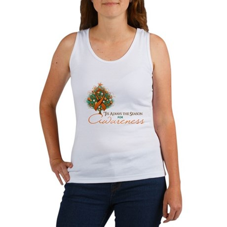Orange Ribbon Xmas Tree Women's Tank Top