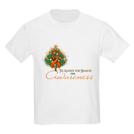 Orange Ribbon Xmas Tree Kids Light T-Shirt