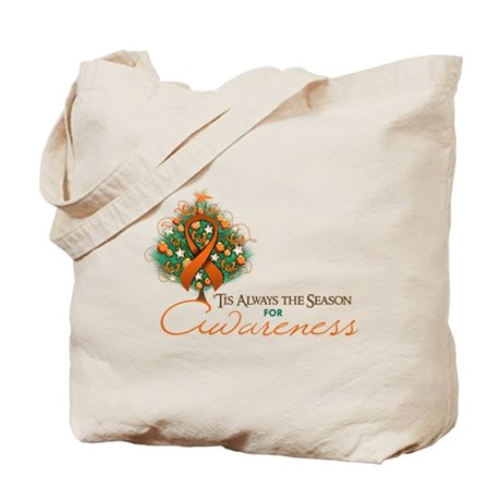 Orange Ribbon Xmas Tree Tote Bag