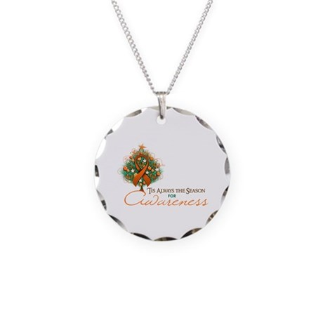 Orange Ribbon Xmas Tree Necklace Circle Charm