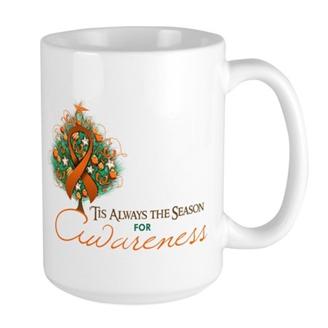 Orange Ribbon Xmas Tree Large Mug