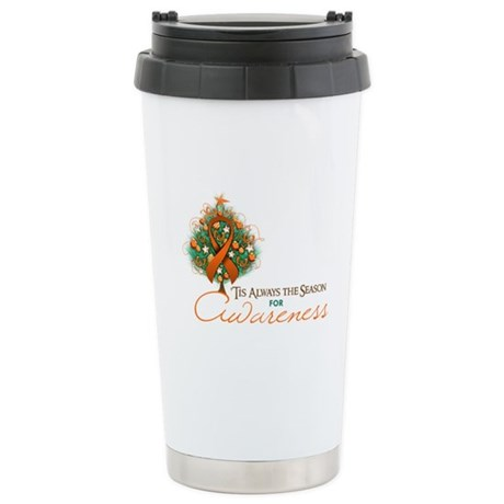 Orange Ribbon Xmas Tree Ceramic Travel Mug
