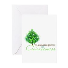 Lime Green Ribbon Xmas Tree Greeting Cards (Pk of