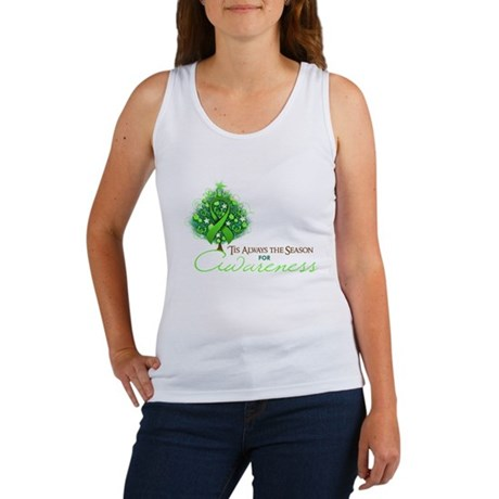 Lime Green Ribbon Xmas Tree Women's Tank Top
