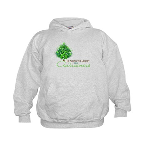 Lime Green Ribbon Xmas Tree Kids Hoodie