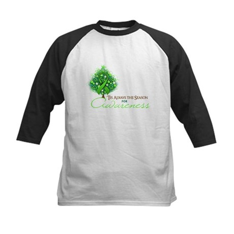 Lime Green Ribbon Xmas Tree Kids Baseball Jersey
