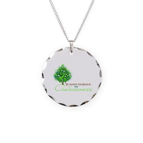 Lime Green Ribbon Xmas Tree Necklace Circle Charm