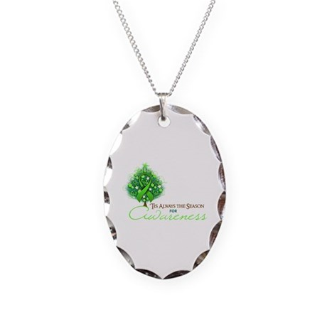 Lime Green Ribbon Xmas Tree Necklace Oval Charm