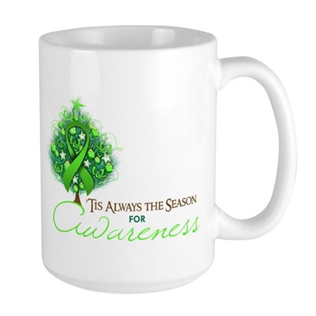 Lime Green Ribbon Xmas Tree Large Mug